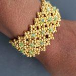 Peridot and Gold Seed Bead Cuff Bracelet