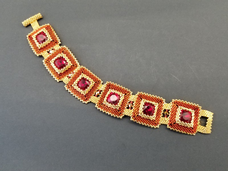 Rudy Red and Gold Cuff Bracelet