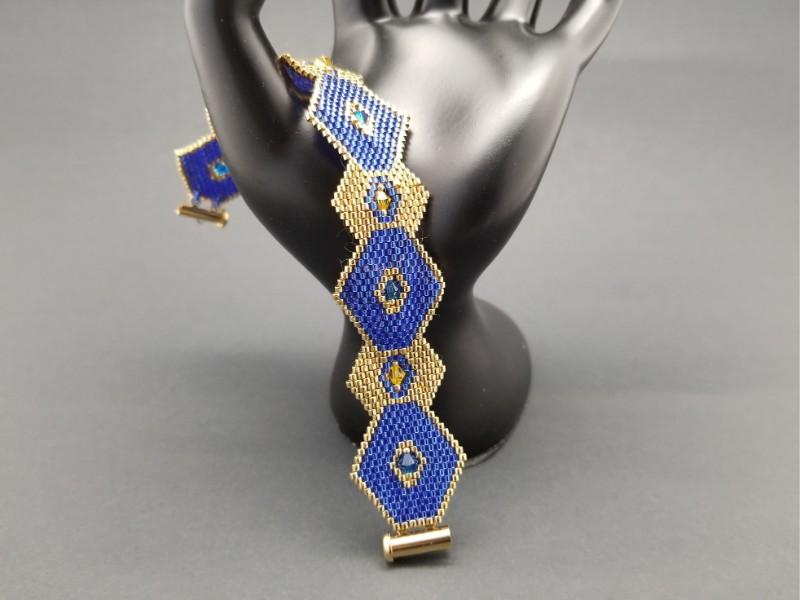Blue and Gold Delica Rhombus Bracelet