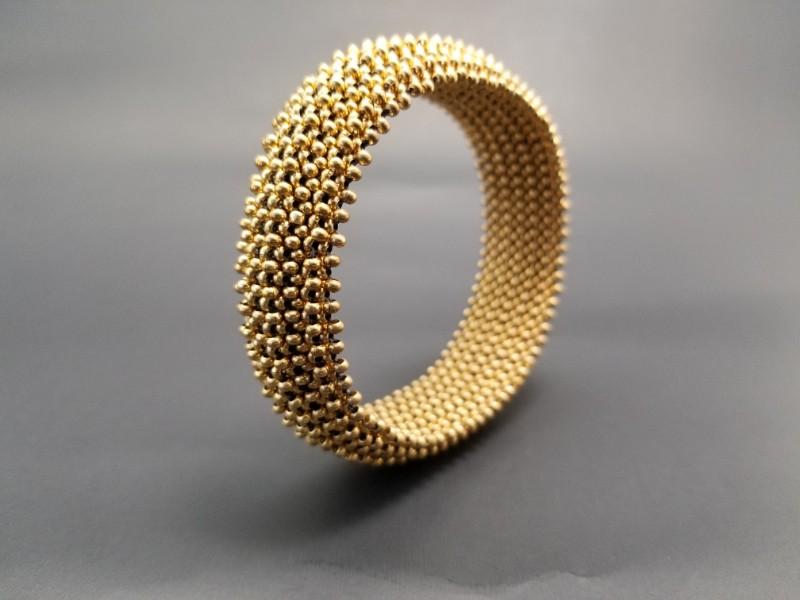 Gold Metal Seed Bead Cuff Bracelet