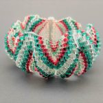 Red, Green and Crystal Zigzag Cuff Bracelet