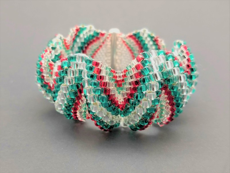 Red Green and Crystal Cuff Bracelet