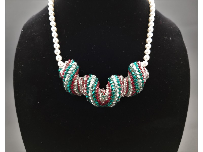 Red, Green and Crystal Spiral Necklace