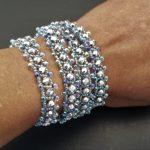 Silver Czech Fire Polished and Aqua Seed Bead wrap bracelet